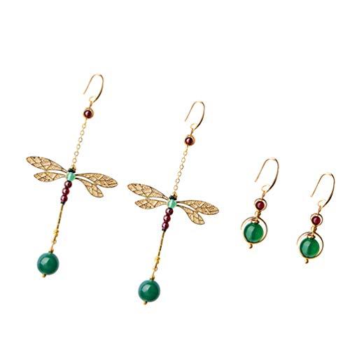 TOYANDONA 2 pares de pendientes colgantes retro de estilo étnico con forma de libélula y perlas de estilo vintage, con gancho, para joyas o como regalo para mujeres y niñas o bodas