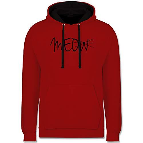 Shirtracer Statement - Meow - XS - Rot/Schwarz - Geschenk - JH003 - Hoodie zweifarbig und Kapuzenpullover für Herren und Damen