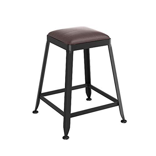 lingyun Sgabelli in Metallo Legno/Pelle Posto A Sedere No Indietro Uso Interno/Esterno Impilabile Sgabelli da Bar Moderni Nero