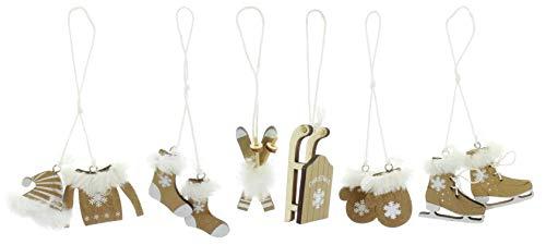 MIK Funshopping Set of 6 Christmas Pendants, Wooden Pendants, Christmas Pendants, Decoration for Christmas Tree, Christmas Tree Decoration, Gift Tags (Gold)