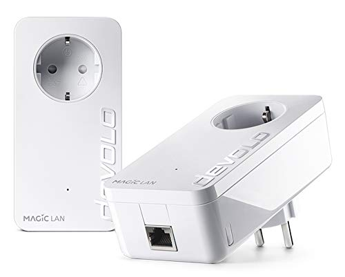 devolo Magic 2 – 2400 LAN Starter Kit: Weltweit schnellster Powerline-Erweiterungs-Adapter für Hochgeschwindigkeits-Heimnetzwerk, ideal für Home Office (2400 Mbit/s, 1x Gigabit LAN-Anschluss, G.hn)