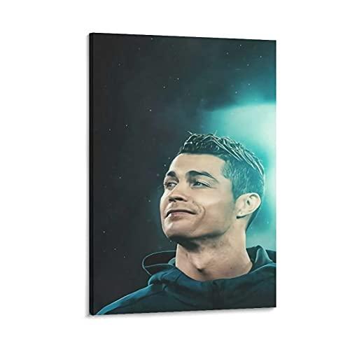 Póster de Cristiano Ronaldo Man-chester United Real Madrid Football Club Inspirador Regalo de Arte Famoso Póster en Lienzo y Arte de la Pared Impresión Moderna de la Familia de 40 x 60 cm
