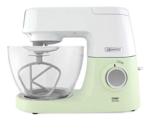 Kenwood Chef Sense KVC5100G – Küchenmaschine, 4,6 l Glas-Rührschüssel, Easy-Lift & Interlock-Sicherheitssystem, 1200 W, inkl. 3-teiligem Patisserie-Set & Rezeptbuch, grün