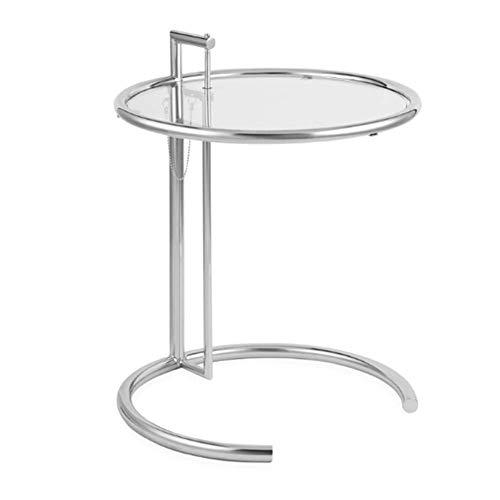 Zaixi Table d'appoint Ronde, Chrome, galvanoplastie Table Basse en Verre relevable Minimaliste Moderne Forte capacité portante