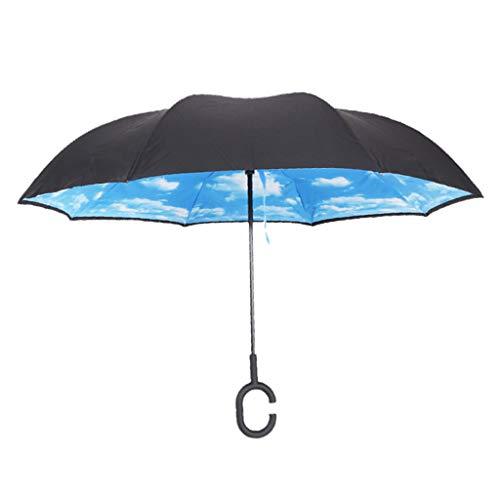 Bonarty Reverse Golfschirm, Umgedrehter Regenschirm mit C-Griff, Auto-öffnen Regenschirm Windundurchlässig, Reverse Umbrella für zwei Personen - Blauer Himmel Weiße Wolke