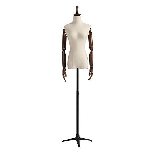 Barture Busto De Señora For Costura Maniquí De Exposición Negro Base del Trípode Altura Ajustable Escaparate De La Tienda De Ropa (Color : A, Size : M)