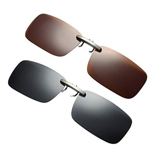 Harilla 2x Gafas de Sol con Lente de Miopía Polarizadas UV400 Abatibles con Clip para Conducción