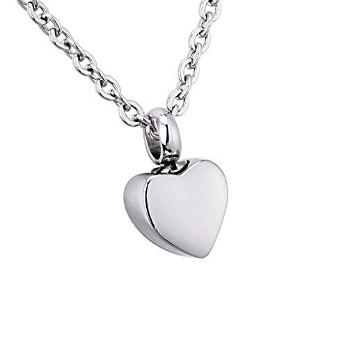 Collar con urna colgante con forma de corazón, de acero inoxidable 316,...