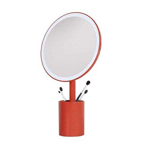 QTMHT Led Tafellamp Make-up Spiegel, Pen Houder Opslag Grote Ronde Spiegel Intelligente Vul Licht Aanpassing Hoek Professionele Desktop Cosmetische Spiegel