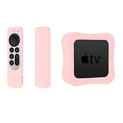 Funda protectora de silicona antideslizante a prueba de golpes, para Apple TV 4K TV6 Case y Apple TV 4K 6th Gen Box (2 unidades), color rosa