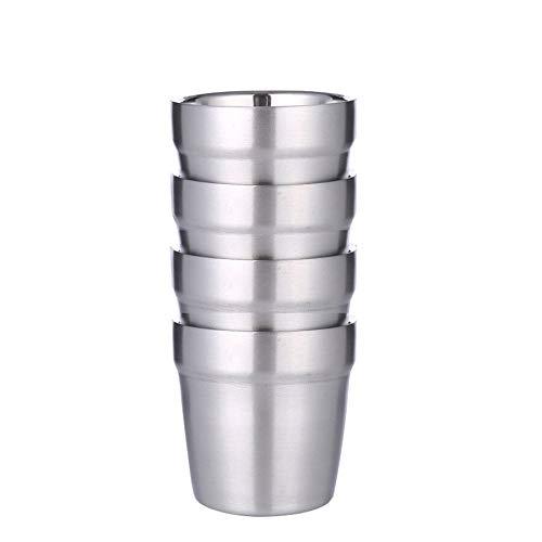 4 stuks dubbelwandige 304 roestvrij stalen ijskopjes koud water bierkopjes bier koffie melk thee citroensap kopje 300 ml 300ml 4 stuks.
