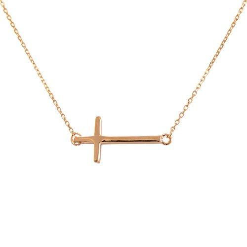 Paialco Collar de plata de ley con cruz horizontal para mujer