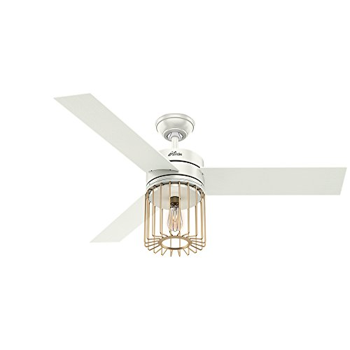 "Hunter Ronan Indoor Ceiling Fan with LED Light and Remote Control, 52"", Fresh White"
