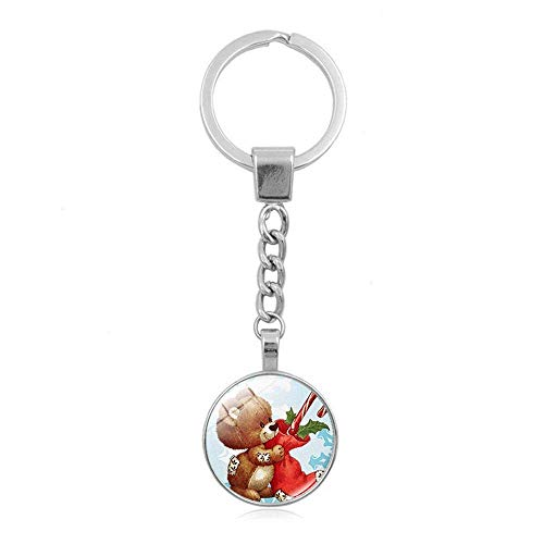 Fashion sleutelhanger, autosleutelhanger, sleutelhanger, zakhanger, Koreaans creatief geschenk, kinder kersthanger, legering, verzilverd + glasjuweel sleutelgesp, hanger, 10 stuks F