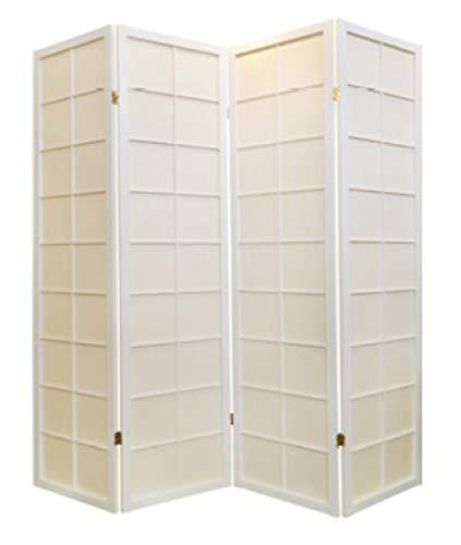 Fine Asianliving Japanischer Paravent Raumteiler Trennwand 4-teilig Shoji Reispapier - Weiß - B180xH180cm
