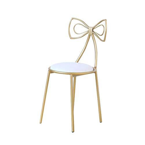 Tellgoy Make-up-Stuhl, Kreativ Gold-Dressing Stuhl, Schminktisch Dekoration Sessel Gold-Eisen-Kunst-Lounge Chair PU-Leder Dining Chair Möbel 82CM,Weiß