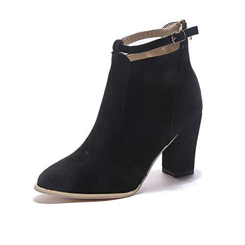 Dames Laarsjes Spitse Neus Midden Hak Rits Op De Rug Suede Enkellaars Party Mode Herfst Winter Boots,Black,39 EU