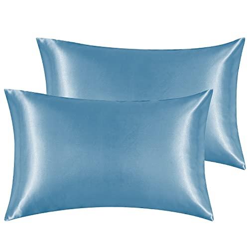 Hansleep Funda Almohada 40x70cm de Satén Neblina Azul, Sedoso estándar para 2 Piezas, con Cierre de sobre, Muy Liso Suave de 100% Microfibra Poliéster, Belleza Facial