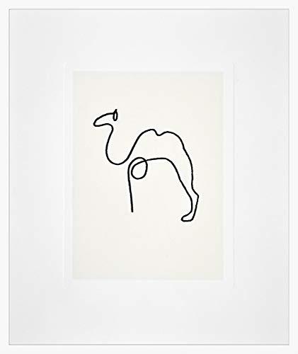Nielsen Home Bild mit Rahmen 50x60 cm (hoch) - Picasso Le Chameau I das Kamel - Kunstdruck - Holzrahmen Weiß - Premium Poster gerahmt Made in Germany