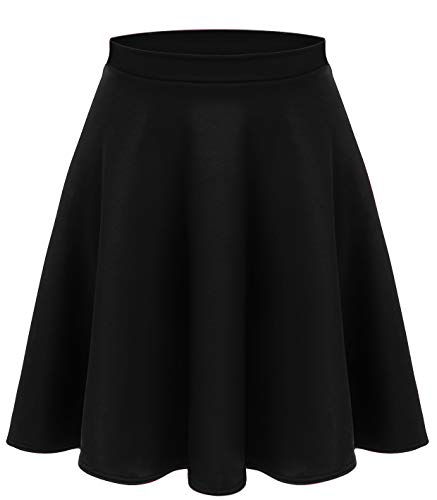 Simlu Black A Line Midi Skirt, Black Midi Skirt For Women, Black Pleated Midi Skirt,X-Large