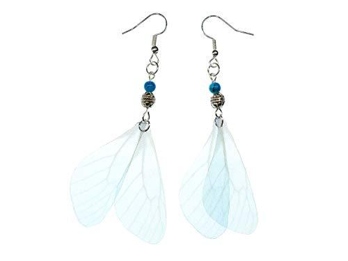 Miniblings Pendientes de alas de libélula, hechos a mano, diseño de libélula, color azul claro