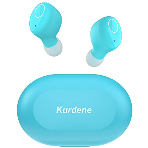 Bluetooth Earbuds,Kurdene Wireless Earbuds with Charging Case IPX8 Waterproof Bluetooth Headphones Bass Sound Earphones with Mics Touch Control in-Ear Headset for Sports,Home-Wathet