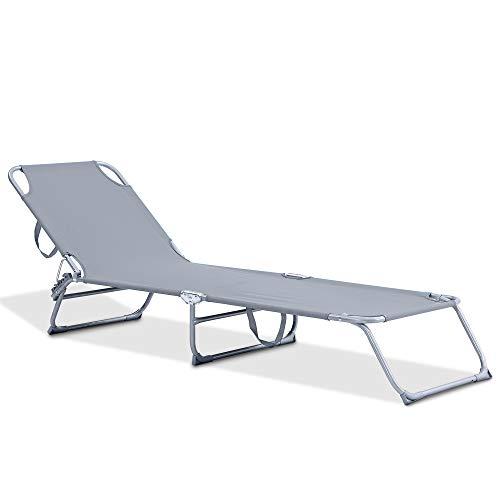 Fineway Folding Garden Sun Lounger Recliner Bed Chair – Patio Back Garden Camping Picnic Beach Relaxing Outdoor Comfortable Seat Foldable Textilene (Grey)