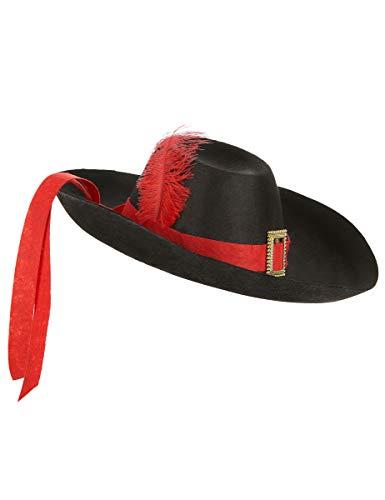DEGUISE TOI - Chapeau Mousquetaire Noir et Rouge Adulte - Taille Unique
