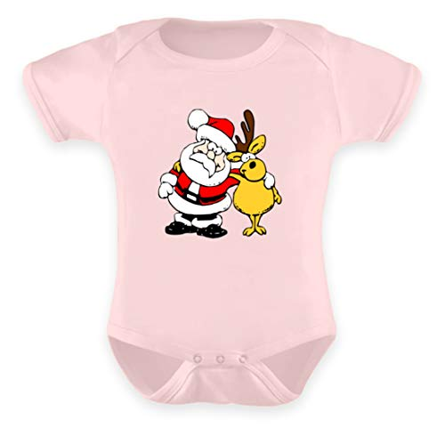 Body para bebé con diseño de Papá Noel y reno Polvo rosa. 0-6 Meses