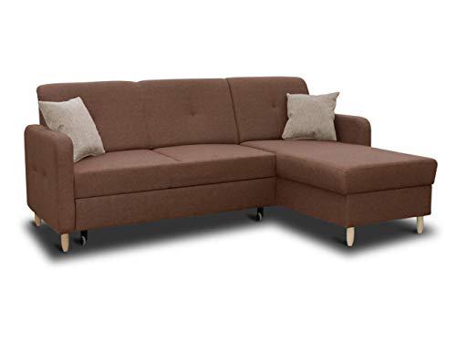 Ecksofa Oslo mit Schlaffunktion und Bettkasten - Scandinavian Design Couch, Sofagarnitur, Couchgarnitur, Polsterecke, Holzfüße (Braun (Inari 24 + Inari 26), Ecksofa Rechts)