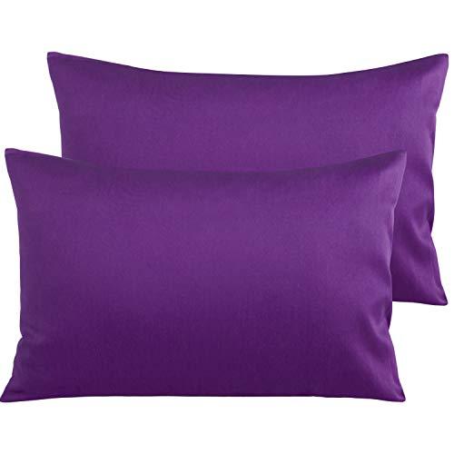 NTBAY Par de fundas de almohada de algodón egipcio con 500 hilos, funda de cojín lisa y cómoda al tacto, 50 x 80 cm, color morado
