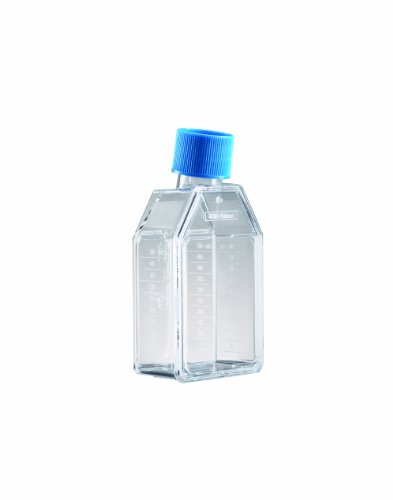 BD 353024 Falcon Polystyrene Cell Culture Flask with Blue Plug-Seal Screw Cap, Straight Neck, 75 sq cm Culture Area, 250mL Capacity (Case of 100)