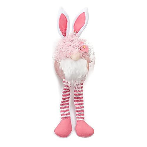 Conejo De Pascua De Patas Largas,Peluche Interactivo De Aprendizaje,Regalo para Bebé Niña Calmante del Sueño Quitamiedos Infantil para Peluche con Música Y Sonidos De La Naturaleza. (Color : Pink)