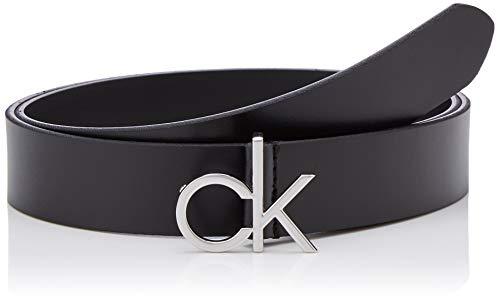 Calvin Klein Damen Re-lock Low Ck 3cm Fixed Gürtel, Schwarz (Black Bax), X-Small (Herstellergröße: 80)