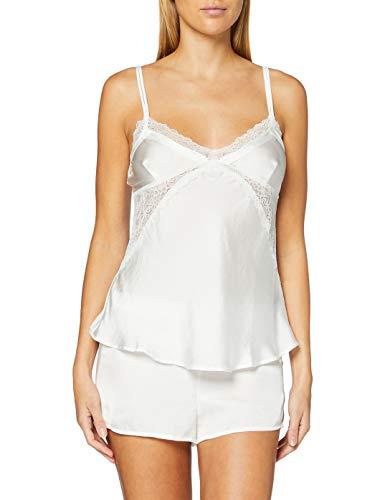 Women's Secret, Pijama Corto Satinado para Mujer, Blanco, M