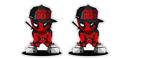 Deadpool Rapper Dude Kumpel Kämpfer Superheld Hero Comic Aufkleber Sticker Decal Autocollants Pegatinas / Plus Schlüsselringanhänger aus Kokosnuss-Schale / Auto Motorrad Laptop Notebook Koffer Skateboard Snowboard Tuning Racing Motorsport