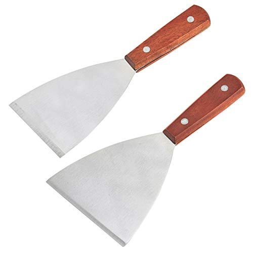 Wood Handle Grill Spatula CHEPL 2 Piece Teppanyaki Spatulas Stainless Steel Beefsteak Spatula, for BBQ Grill Griddle Scraper Barbecue Supplies