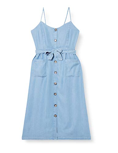 ONLY Damen Midikleid mit Knopfleiste Jeanskleid (34, Light Blue Denim)