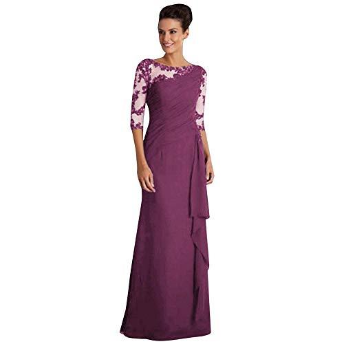 YEBIRAL Damen Elegant 1/2 Arm Rundhals Vintage Spitzenkleid Abendkleider Abendmode Partykleid Cocktailkleid Kleider Langes Kleid Maxikleid Ballkleider Hochzeit Festliche Kleider(XL,Violett)