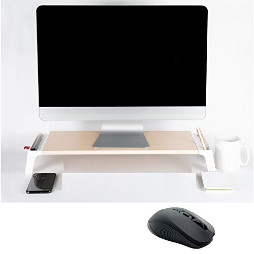 Jovely Mordern Design Smart Computer Monitor Riser Stand and Desk Storage Organizer with 4 Port USB Hub and Wireless Mouse. Notebook, Computer Screen, or Small TV Shelf for Office Desk Organization