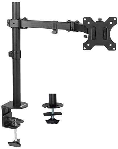 VIVO Full Motion Single VESA Computer Monitor Desk Mount Stand with Articulating Double Center Arm Joint, for up to 32 inch Screens, STAND-V101