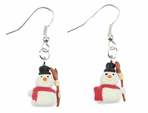 Miniblings Schneemann Besen Ohrringe Hänger Weihnachten Winter Schnee Kinder - Handmade Modeschmuck I Ohrhänger Ohrschmuck versilbert