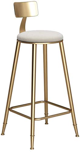 Taburete alto taburete bar Simple taburetes taburete de la barra de hierro arte nórdico con respaldo de oro de alta heces creativa cena la silla de la cocina del restaurante bar café Altura selecciona