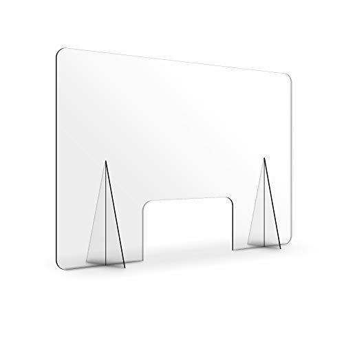 Mampara de Protección de Metacrilato Transparente para Mostrador, 70 x 50 cm, Grosor de 3mm, Mampara de Sobremesa con Ventanilla y Soportes, MAMP-CON-070050