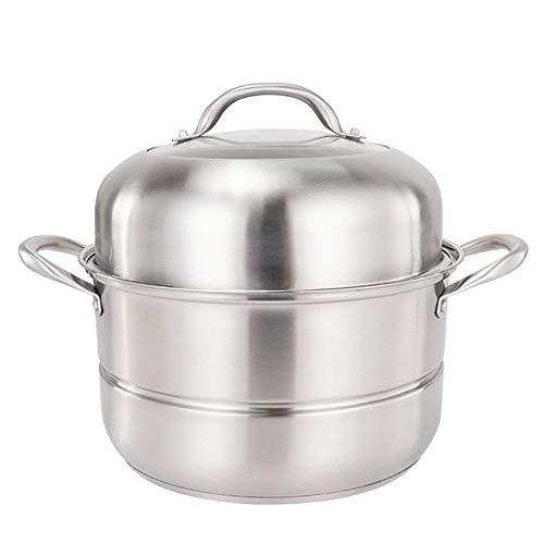 GCP Juego de ollas de Vapor, Olla de Cocina de Acero Inoxidable, Olla para cocinar al Vapor, Olla de Sopa con Tapa, para Utensilios de Cocina, Doble Capa, 28 cm