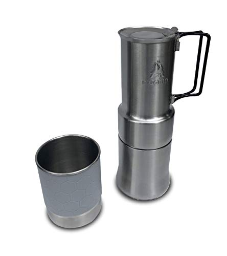 nCamp Draagbare Koffiemachine, Compacte Espresso Style, Roestvrij Staal op Cafe Gear Voor Camping Backpacking Wandelen Outdoor Koken Camp Chef Fornuis