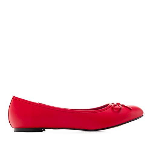 Flache Ballerinas für Damen und Junge Frauen mit flachem Blockabsatz und dekorativer Schleife - Loafer - TG104 - TG104SOFT Rot, EU 44