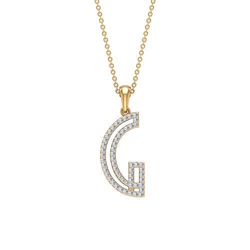 HI-SI - Collana con iniziale di diamante da 0,33 ct, con nome dell'alfabeto, con ciondolo a forma di lettera e lettera personalizzabile e Oro giallo, colore: Giallo, cod. RCPE092021139