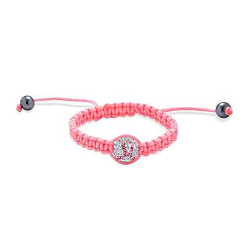 Bling Jewelry Pink Lazo Sobreviviente del Cáncer Pave Cristal Ball Shamballa Inspirado Pulsera para Mujer Rosa Cadena Cordón Ajustable