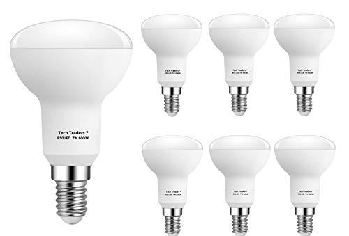 Preisvergleich Produktbild Tech Traders Reflektor R50 LED-Leuchtmittel,  plastik,  E14,  Kaltweiß 7 W (6000 K),  6 Stück